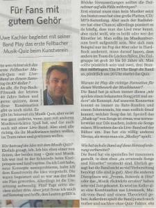 Musik-Quiz Fellbach Ankündigung Fellbacher Zeitung